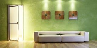 Rendição moderna do sofá 3D Imagens de Stock Royalty Free