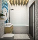 Rendição moderna interior do banheiro 3D Fotos de Stock
