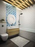 Rendição moderna interior do banheiro 3D Foto de Stock