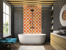 Rendição moderna interior do banheiro 3D Fotografia de Stock Royalty Free