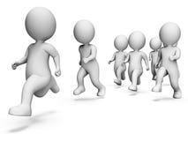 Rendição movimentando-se running de Team Work And Characters 3d das mostras Imagem de Stock