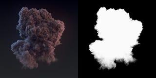 Rendição perigosa da nuvem 3d do fumo escuro após uma explosão com canal alfa ilustração do vetor