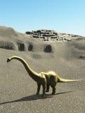 Rendição pré-histórica jurássico da cena 3d dos dinossauros Imagem de Stock