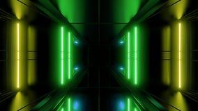 Rendição reflexiva alta do vjloop 3d do fundo do papel de parede do túnel do scifi ilustração stock