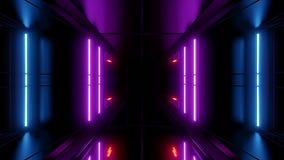 Rendição reflexiva alta do vjloop 3d do fundo do papel de parede do túnel do scifi ilustração do vetor