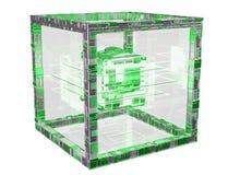 Rendição textured do objeto 3D do cubo tecnologia futurista Fotografia de Stock Royalty Free