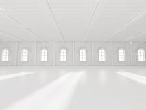 Rendição vazia da sala de exposições 3D Fotografia de Stock Royalty Free
