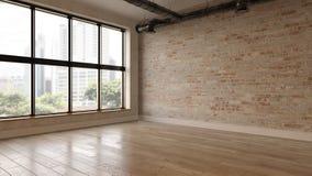 Rendição vazia interior da sala 3D foto de stock