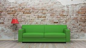 Rendição verde da sala 3d de Sofa On Brick Wall Vintage Fotografia de Stock
