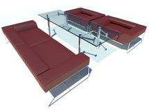 Rendição vermelha do grupo 3D do sofá Fotos de Stock Royalty Free