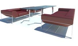 Rendição vermelha do grupo 3D do sofá Imagens de Stock Royalty Free