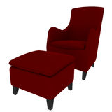 Rendição vermelha do sofá 3D Imagens de Stock Royalty Free