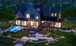 rendi??o 3d da casa moderna do clinquer nas lagoas com a associa??o na noite ilustração do vetor