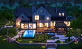 rendi??o 3d da casa moderna do clinquer nas lagoas com a associa??o na noite ilustração stock