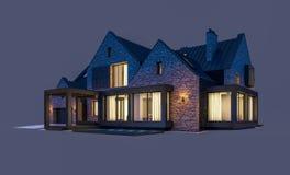 rendi??o 3d da casa moderna do clinquer nas lagoas com a associa??o na noite isolada no cinza ilustração stock
