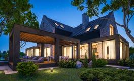 rendi??o 3d da casa moderna do clinquer nas lagoas com a associa??o na noite ilustração royalty free