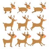 Rendier, beeldverhaal vector vastgestelde inzameling, decoratie voor jonge geitjes, baby, dierlijk die karakter op witte illustra vector illustratie