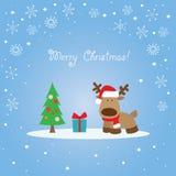 Rendier blauwe Kerstkaart Stock Foto's