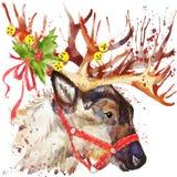 Rendier de Kerstman De illustratie van de rendierkerstman met de geweven achtergrond van de plonswaterverf Stock Foto's