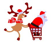 Rendier en Kerstman Stock Afbeeldingen