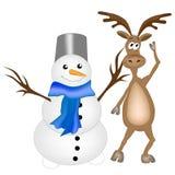 Rendier en sneeuwman stock illustratie