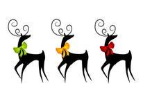 Rendier of Herten die de Bogen van Kerstmis dragen Stock Foto's