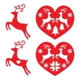 Rendier, herten die, geplaatste Kerstmispictogrammen springen Royalty-vrije Stock Afbeelding