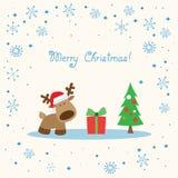 Rendier witte Kerstkaart Royalty-vrije Stock Afbeeldingen