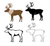 Rendierdier in kleur, silhouet, contour en slagstijl wordt geplaatst die royalty-vrije illustratie