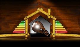 Rendimento energetico - House di modello e lampadina Fotografia Stock Libera da Diritti