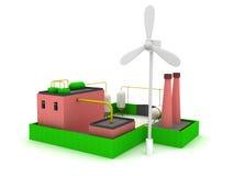 rendimiento energético de la fábrica 3d con el molino de viento Foto de archivo libre de regalías