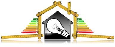 Rendimiento energético - House modelo y bombilla Ilustración del Vector