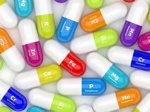 rendição 3d de suplementos dietéticos na colher isolada sobre o branco Fotografia de Stock