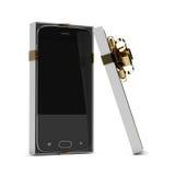 rendição 3d do smartphone na caixa de presente sobre o branco Imagens de Stock Royalty Free