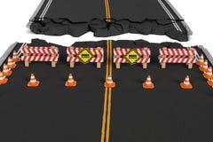 A rendição da estrada fechado com barreiras, cones do tráfego e cuidado assina devido à diversão dos roadworks Foto de Stock