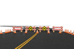 A rendição da estrada fechado com barreiras, cones do tráfego e cuidado assina devido à diversão dos roadworks Fotografia de Stock