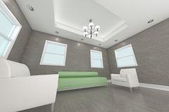 Rendu à la maison de l'intérieur 3D avec la salle de séjour Photos stock