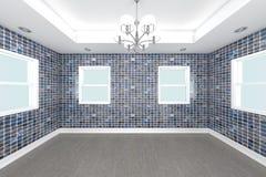 Rendu à la maison de l'intérieur 3D avec le mur de tuile Photo libre de droits