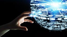 Rendu émouvant de la sphère 3D d'hologramme de femme d'affaires Photo libre de droits