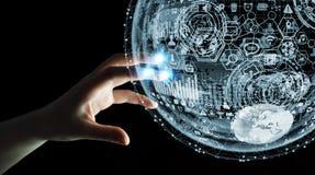 Rendu émouvant de la sphère 3D d'hologramme de femme d'affaires Images libres de droits