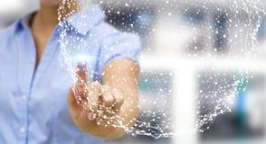 Rendu émouvant de la sphère 3D de réseau de vol de femme d'affaires Photos stock
