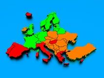 rendu 3d d'une carte de l'Europe dans des couleurs lumineuses Photos stock
