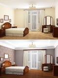 rendu 3D de la chambre à coucher à la maison Images stock