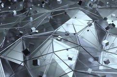 Rendu abstrait de la surface avec les cubes aléatoires Images stock