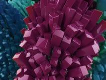 Rendu abstrait en cristal cubique de fond en métal brillant brillant Photo libre de droits