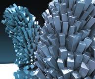 Rendu abstrait en cristal cubique de fond en métal brillant brillant Image libre de droits