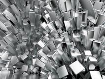 Rendu abstrait en cristal cubique de fond en métal brillant brillant Image stock