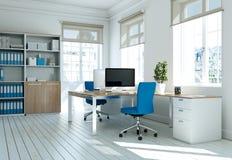Rendu blanc moderne de la conception intérieure 3d de siège social Image libre de droits