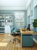 Rendu blanc moderne de la conception intérieure 3d de siège social Image stock