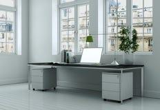 Rendu blanc moderne de la conception intérieure 3d de siège social Images stock